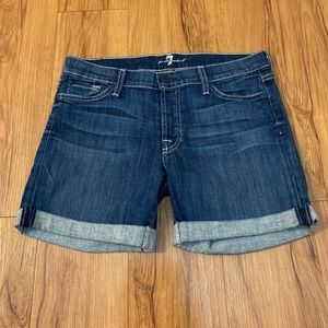 7 For All Mankind High Rise Cuffed Jean Shorts